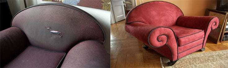 sofa re upholstery before and aftet